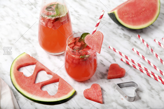 Refreshing watermelon drink with mint garnish