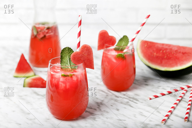 Refreshing watermelon drink with mint