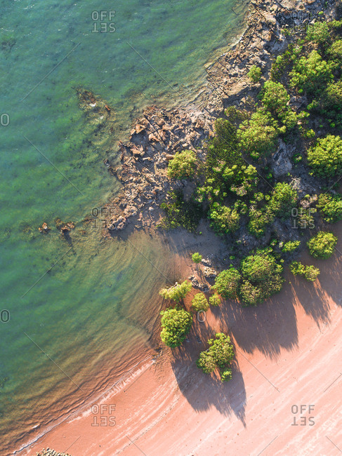 Aerial view of a beach in Broome, Australia