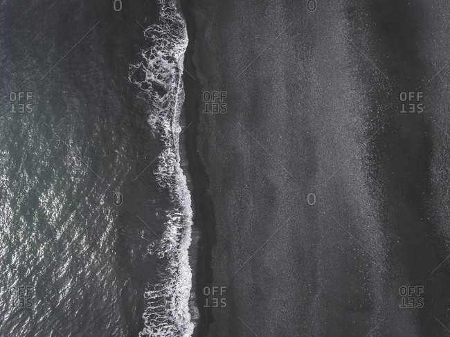 Aerial view of a black beach in Iceland