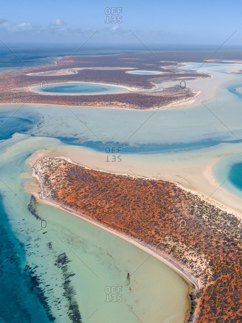 Aerial view over Shark Bay in Western Australia