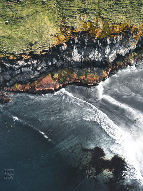 Aerial view of the coast on the Faroe Islands