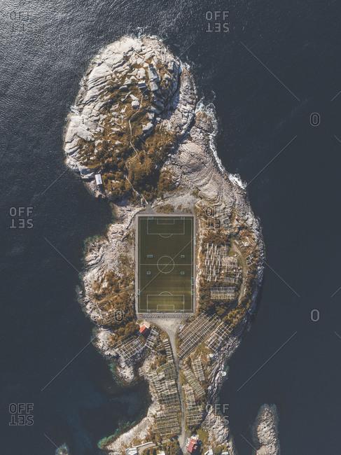 Aerial view of sports court in Lofoten, Norway
