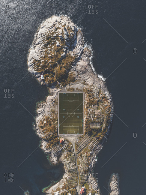 Aerial view of sports court in Lofoten, Norway