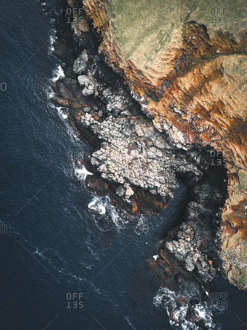 Aerial landscape of the coast on the Faroe Islands