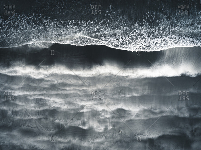 Aerial view of a black beach on the Faroe Islands