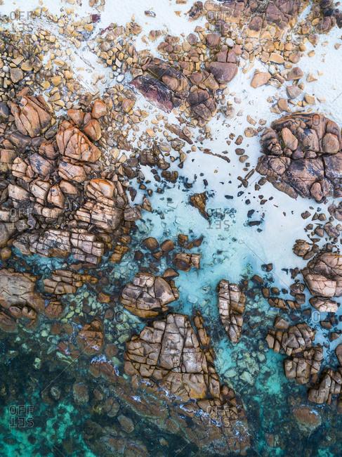 Aerial view of rocky coast in Dunsborough, Australia