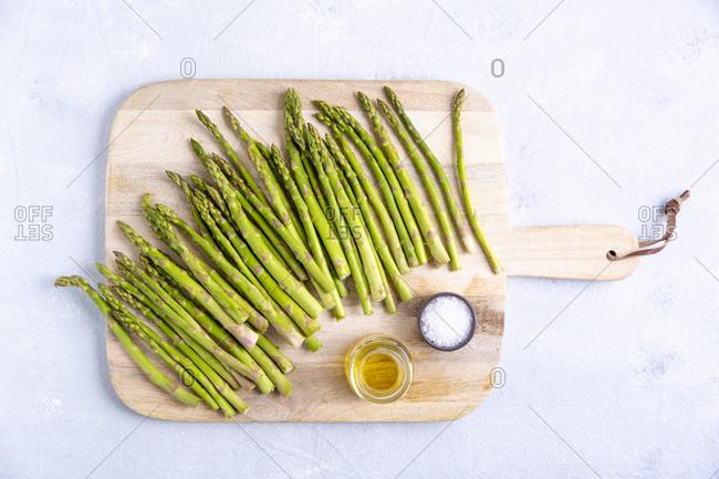 Overhead shot of raw asparagus