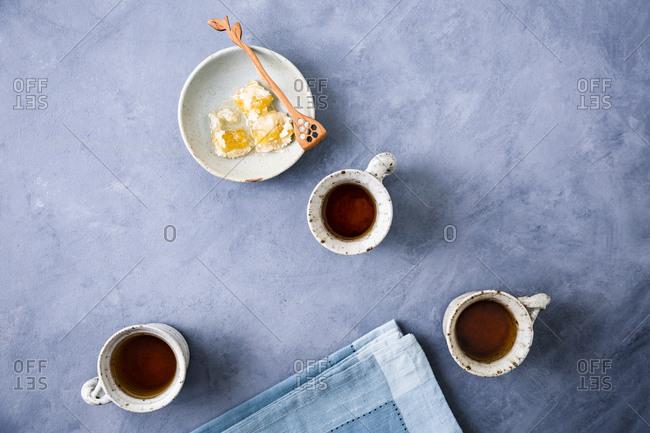 Overhead shot of tea with honeycomb