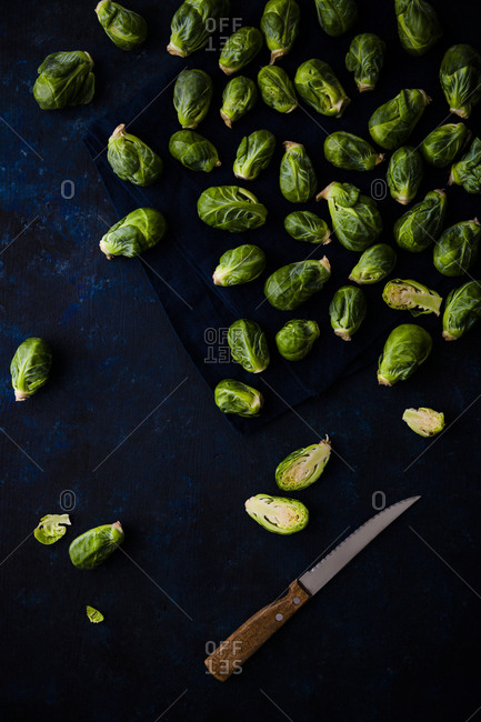 Overhead of raw Brussels sprouts