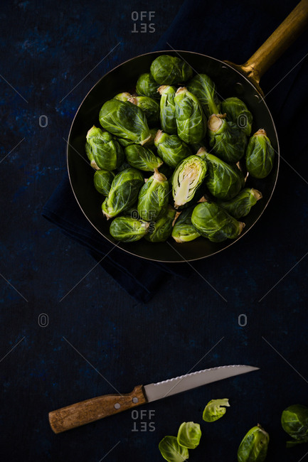 Copper pan of Brussels sprouts