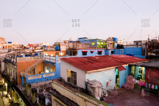 Havana, Cuba - 14th November 2016: The rooftops of Havana Vieja