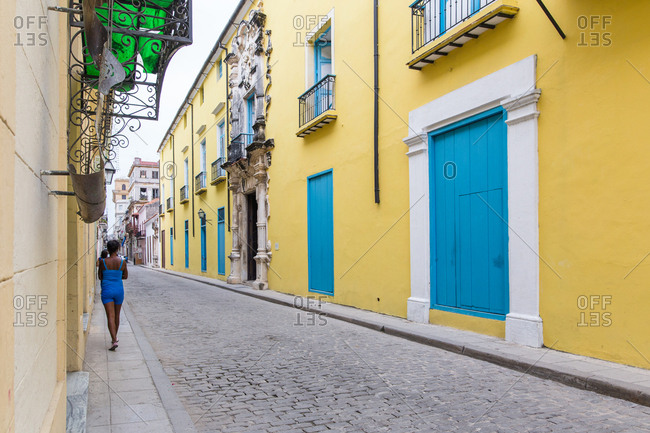 Havana, Cuba -  November 15, 2016: The colorful buildings on Havana