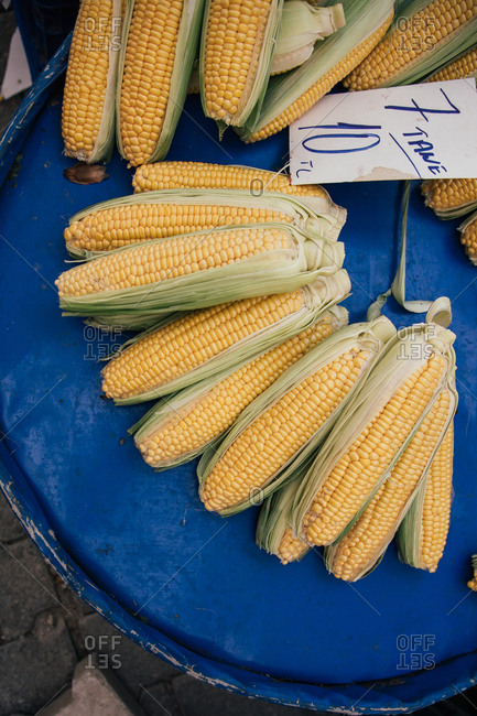Corn for sale in at a farmer's market
