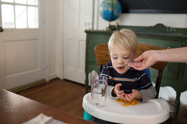 Toddler being spoon fed lunch in a high chair