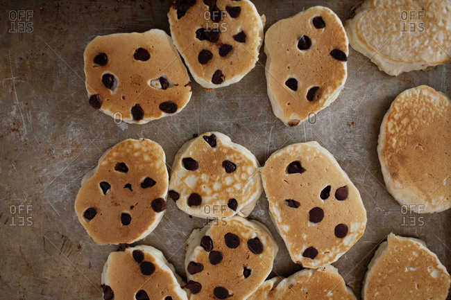 Overhead view of homemade chocolate chip pancakes
