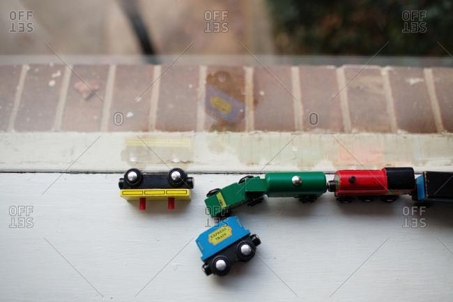 Toy train on windowsill
