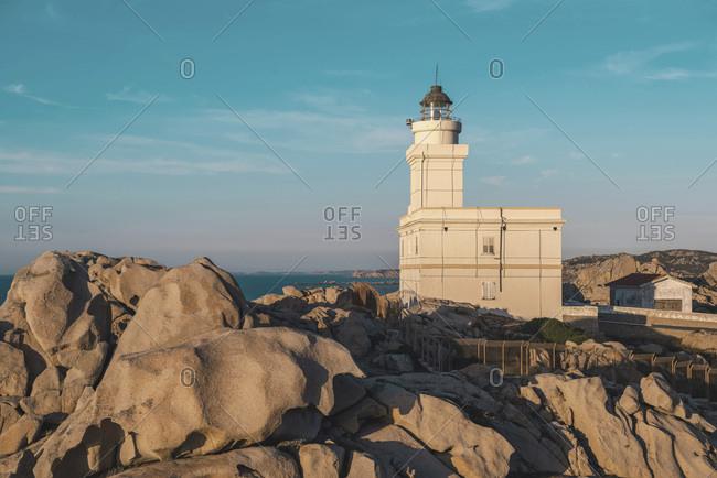 Capo Testa Lighthouse at sunset