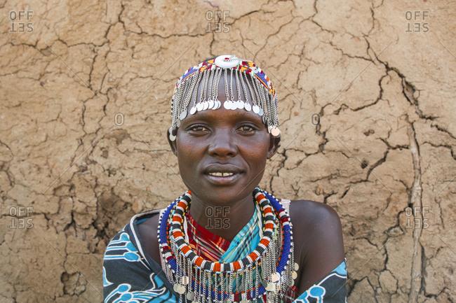 Portrait of a Maasai villager at Maasai Mara in Kenya