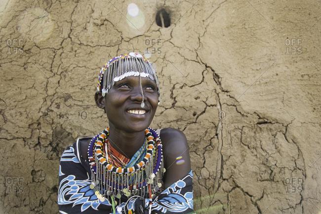 Portrait of a smiling Maasai villager at Maasai Mara in Kenya