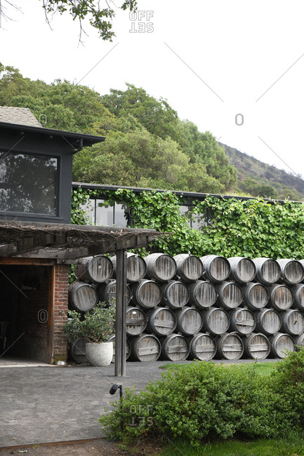 Barrels stacked outside of a vineyard