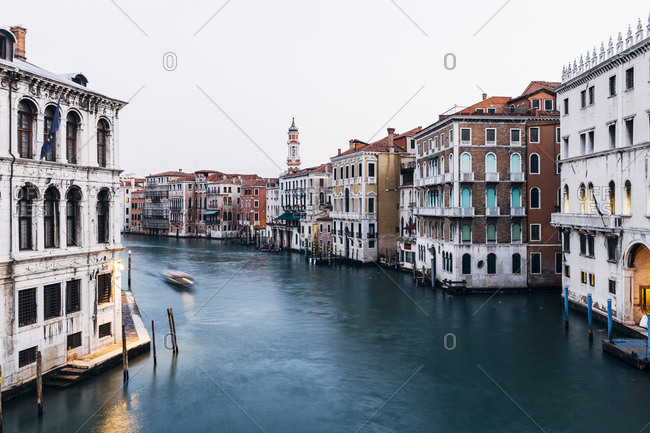 Long exposure image of the Grand Canal from Ponte Rialto, Venice, Italy