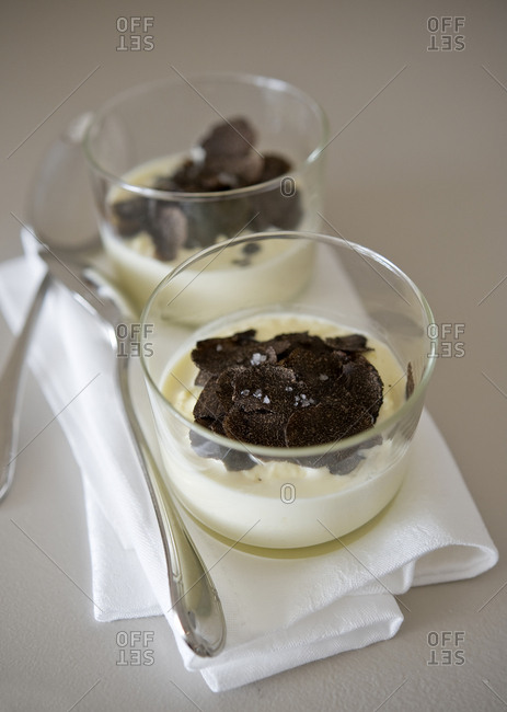 Close up of Brouillade topped with truffles