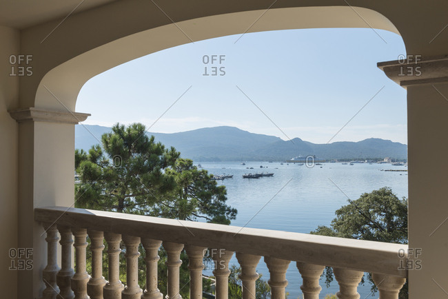 Porto Vecchio, France - September 4, 2016: A view of the bay from covered verandah of hotel