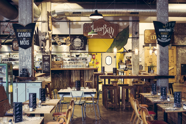 Bordeaux, France - March 02, 2017: Eclectic retro inspired interior of Darwin restaurant