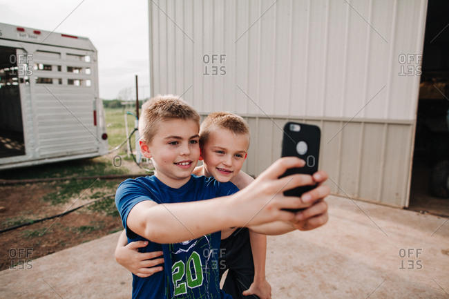 Two boys taking a selfie