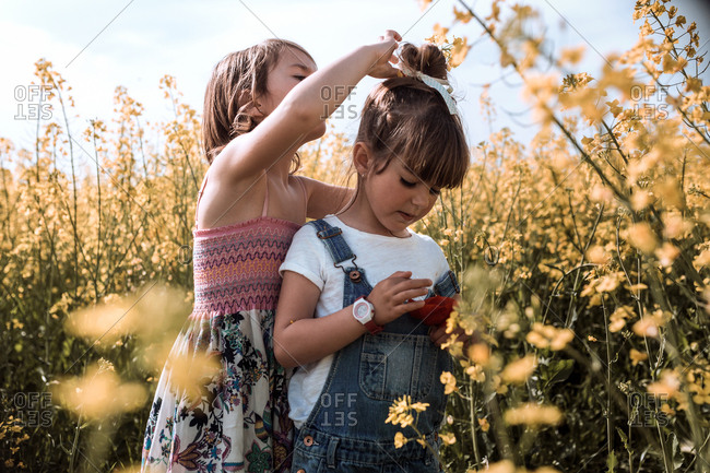 Girl puts a flower on the sister's head