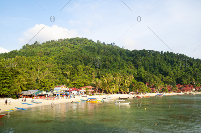 Terengganu, Malaysia - July 7, 2012: Tourists enjoying boat time on Coral Bay Beach