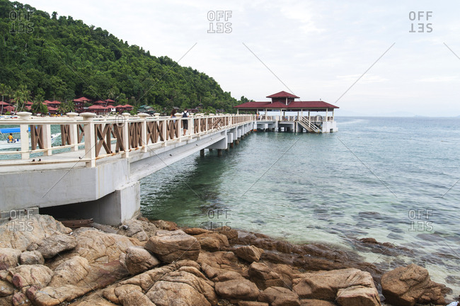 Terengganu, Malaysia - July 8, 2012: Pier on Malaysian coast