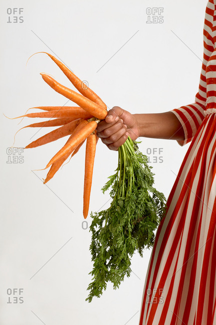 Anonymous woman in striped red and white dress holding freshly picked carrots with tops while standing against white background