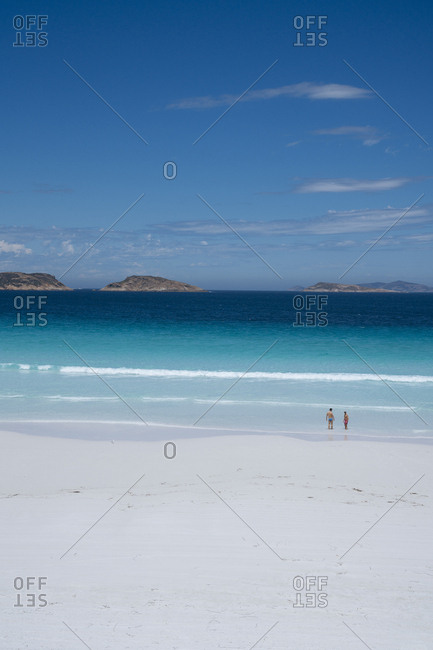 Scenic view of white sand beach at Cape Le Grand National Park in Western Australia