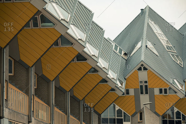 Rotterdam, Netherlands - June 07, 2018: A row of cube houses by  architect Piet Blom
