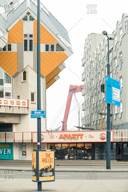 Rotterdam, Netherlands - June 07, 2018: Tilted cube houses by architect Piet Blom overlooking Blaak Street