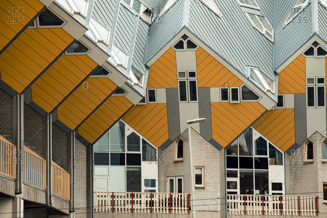 Rotterdam, Netherlands - June 07, 2018: Facades of the angled cube houses by architect Piet Blom