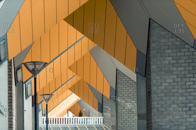 Rotterdam, Netherlands - June 07, 2018: Close up of underside of intertwined cube houses forming abstract design