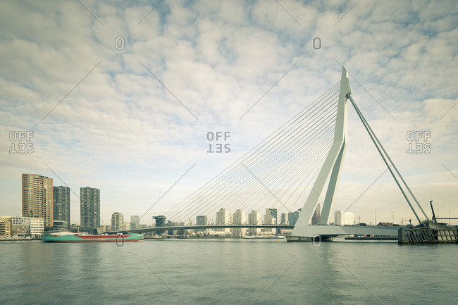 Rotterdam, Netherlands - June 07, 2018: View of Erasmus Bridge over New Meuse river connecting North and South of city