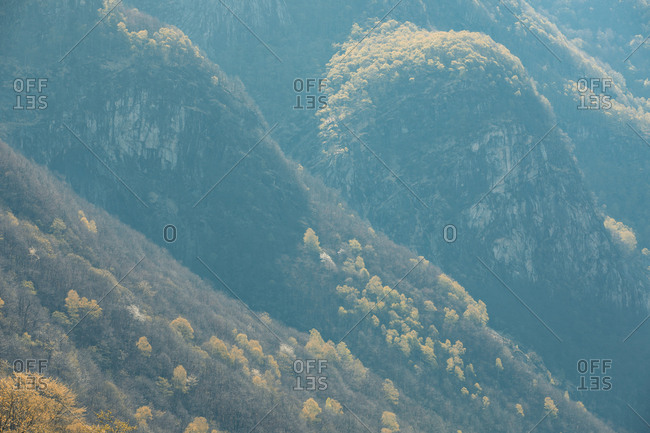 Steep sided mountain slopes covered in trees in fall colors in Valle die Verzasca, Switzerland