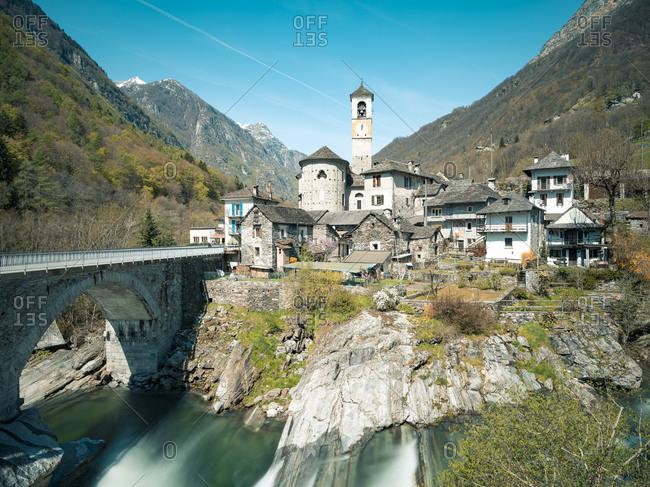 Looking across river at village of Lavertezzo in Valle die Verzasca, Switzerland
