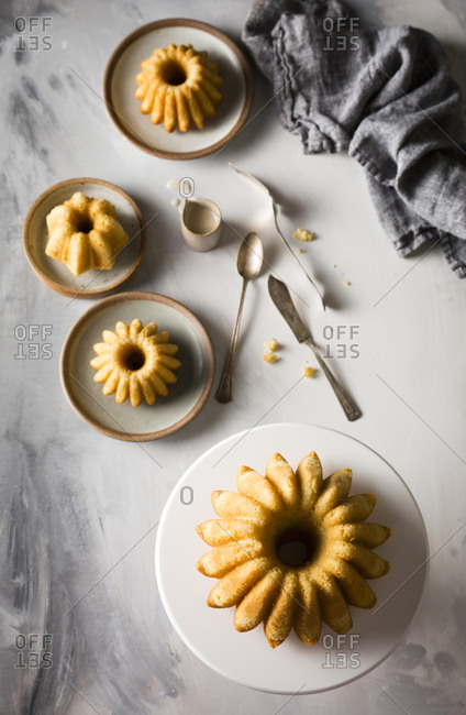 Vanilla Bundt cakes served with vanilla glaze