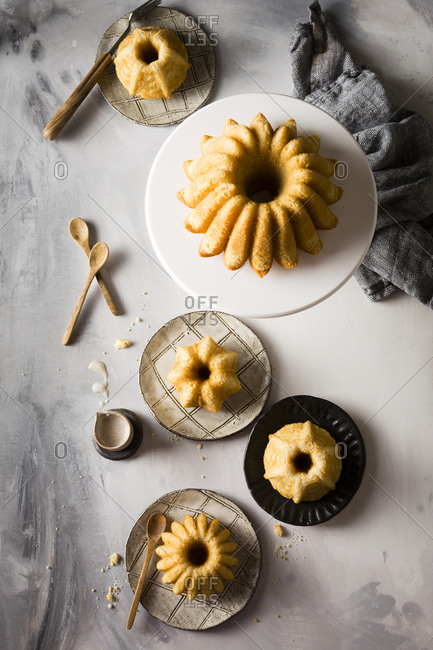 Variety of vanilla Bundt cakes served with vanilla glaze