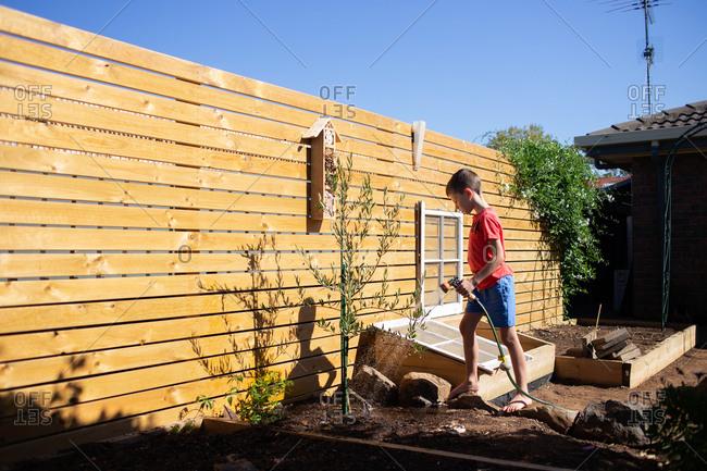 Boy watering plants in backyard