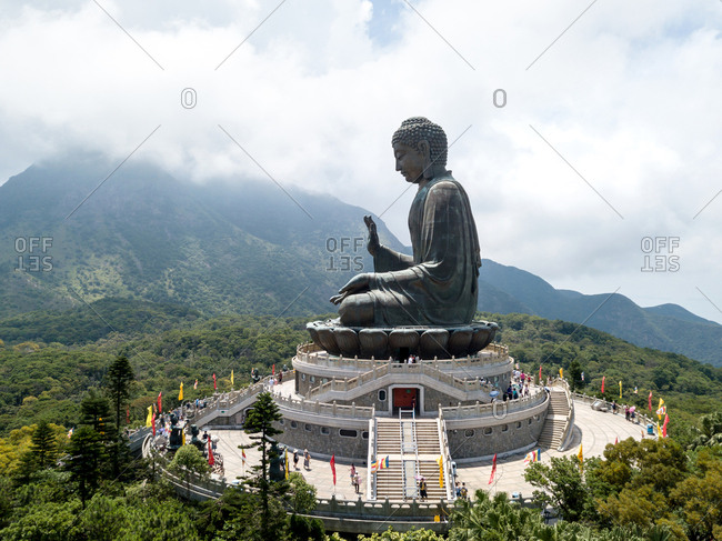 Aerial view of Lift Tian Tan Buddha in Lantau Island, Hong Kong
