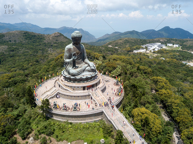 Aerial view of Lift Tian Tan Buddha in Lantau Island, Hong Kong
