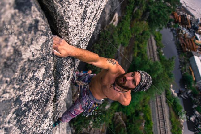 Man climbing Malamute, Squamish, Canada, high angle view