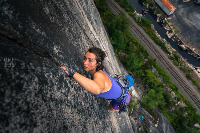 Woman climbing Malamute, Squamish, Canada, high angle view