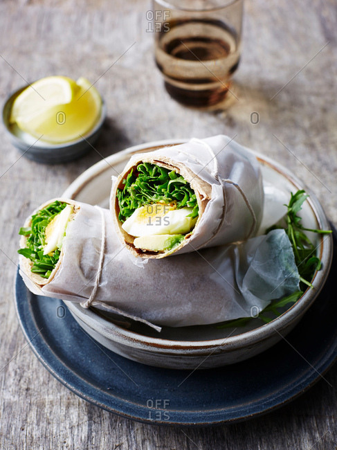 Avocado, rocket and egg wrap, close-up